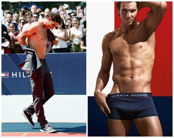 Rafael Nadal en el evento strip tenis (i) y en la campaña (d).