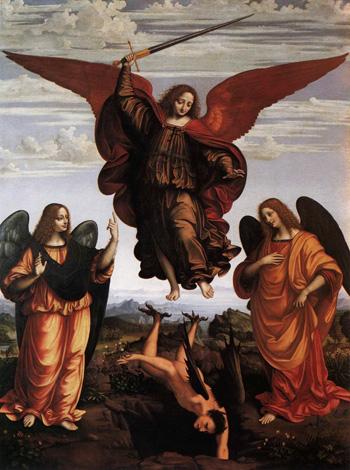 El arcángel San Miguel y dos ángeles expulsan la maldad.