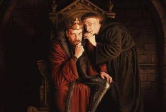Rey medieval escuchando a religioso