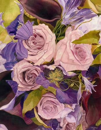 Sinfonía rosa obra de Judy Hasing expuesta en China.