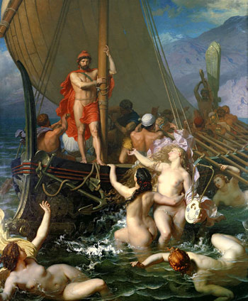 Pintura que recrea uno de los pasajes de La Odisea de Homero.