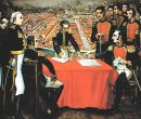 Mariscal Antonio José de Sucre (sentado, derecha) con el general español.