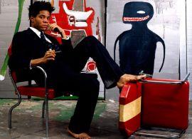 Jean-Michel Basquiat en su estudio (1985)