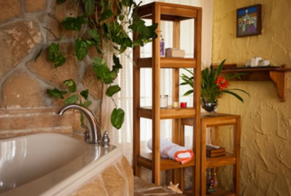 Organizador De Baño Tela:Organizador de baño hecho con madera de Teca (Mubao)