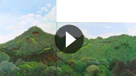 Servio Zapata pintó el cerro El Calvario, pero solo con vegetación.
