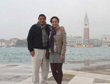 La diseñadora Olga Doumet y su esposo Alfredo Dassum suelen visitar Venecia.