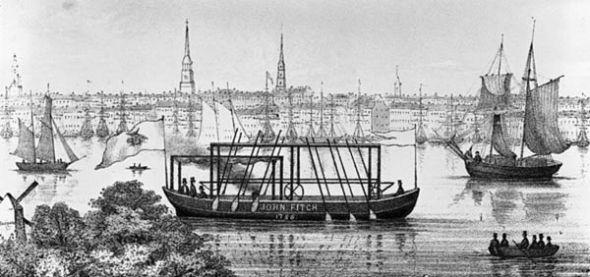 Uno de los primeros modelos del barco de John Fitch en el río Delaware.