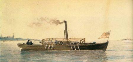 Pintura que retrata un modelo más avanzado del barco a vapor construido por John