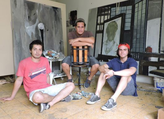 En el sur. Jorge Morocho (i), Rodrigo Molina y Xavier Coronel.