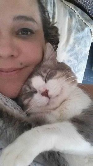 El gato Abelardo junto a su 'mamá', Michèle de Alzate.