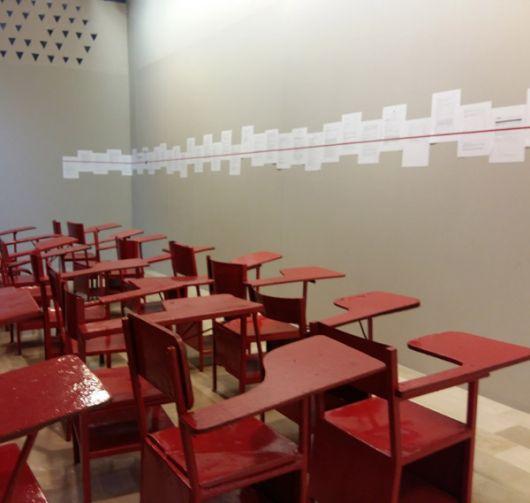 Una línea roja es una línea roja, obra de Xavier Patiño.